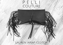 Lauren Convertible Double Strap Wrap Clutch-Natural Edge-Black