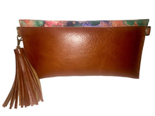 Maria Convertible Leather Clutch/Crossbody with Leather Watercolor Print Flap