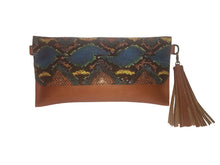 Maria Convertible Leather Clutch/Crossbody with Leather Cobra Print flap