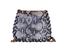 Tenley Crossbody Saddle Bag- Black & White Python Print Leather