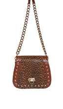 Tenley Crossbody Saddle Bag- Leopard Embossed Print leather