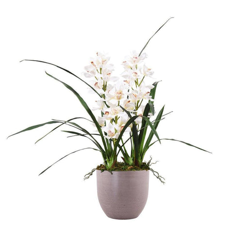 White Artificial Cymbidium Orchid