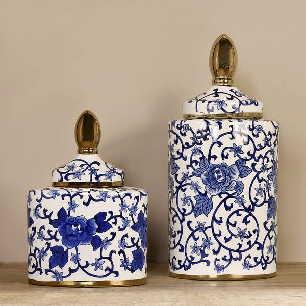 Blue & White Vine Jar with Gold Lid Bloomr Artificial Flowers & Artificial Trees