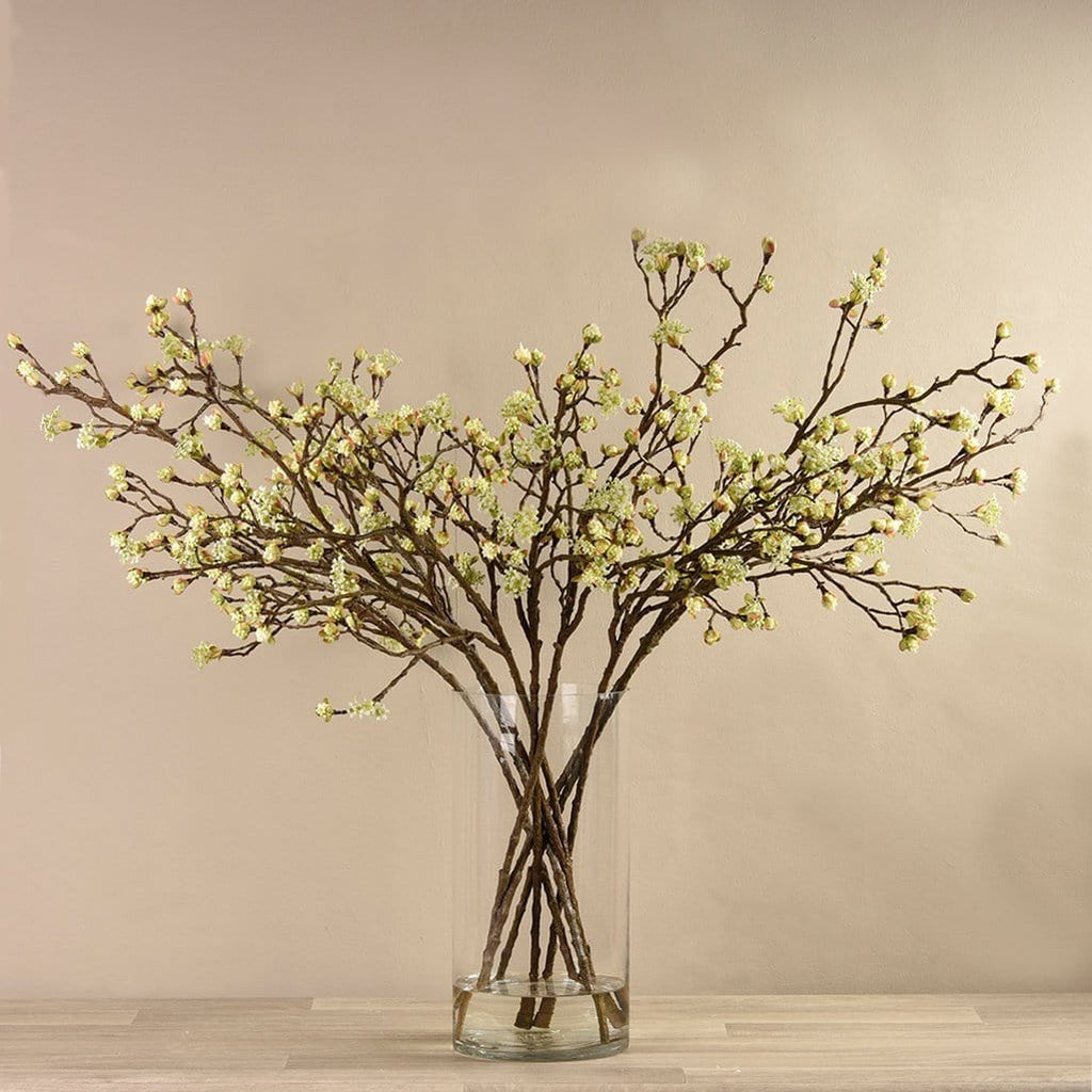 Artificial Dainty Green Blossom Spray in Glass Vase Bloomr Artificial Flowers & Artificial Trees