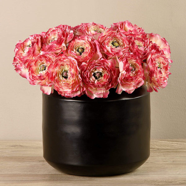 Artificial Ranunculus in Black Vase Bloomr Artificial Flowers & Artificial Trees