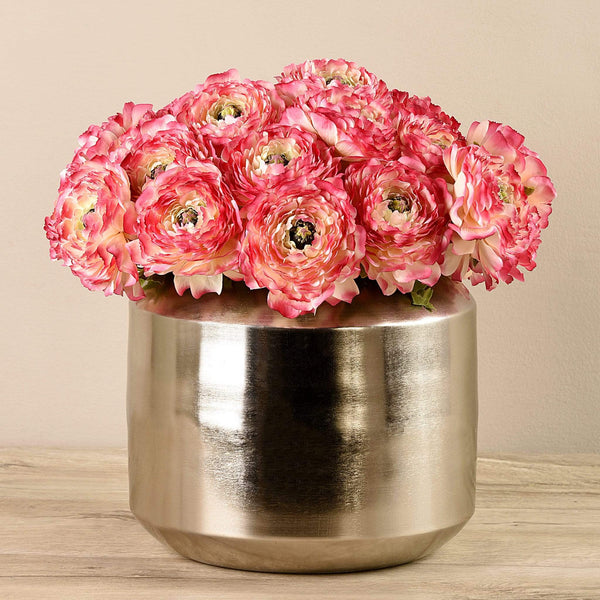 Artificial Ranunculus in Silver Vase Bloomr Artificial Flowers & Artificial Trees