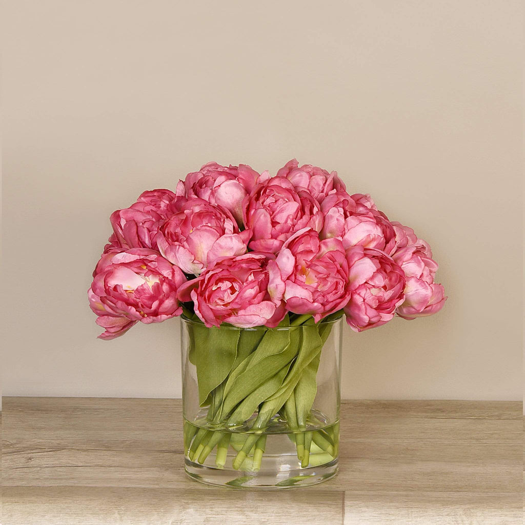 Artificial Tulip Arrangement in Glass Vase Bloomr Artificial Flowers & Artificial Trees