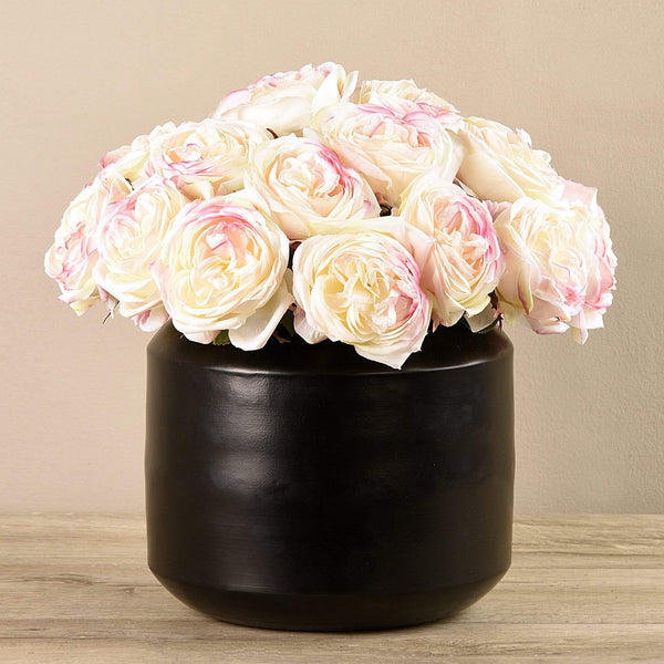 Artificial Rose Arrangement in Black Vase Bloomr Artificial Flowers & Artificial Trees
