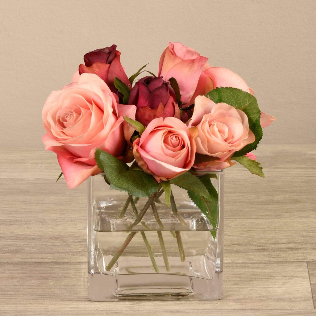 Artificial Mixed Rose Arrangement in Glass Vase Bloomr Artificial Flowers & Artificial Trees