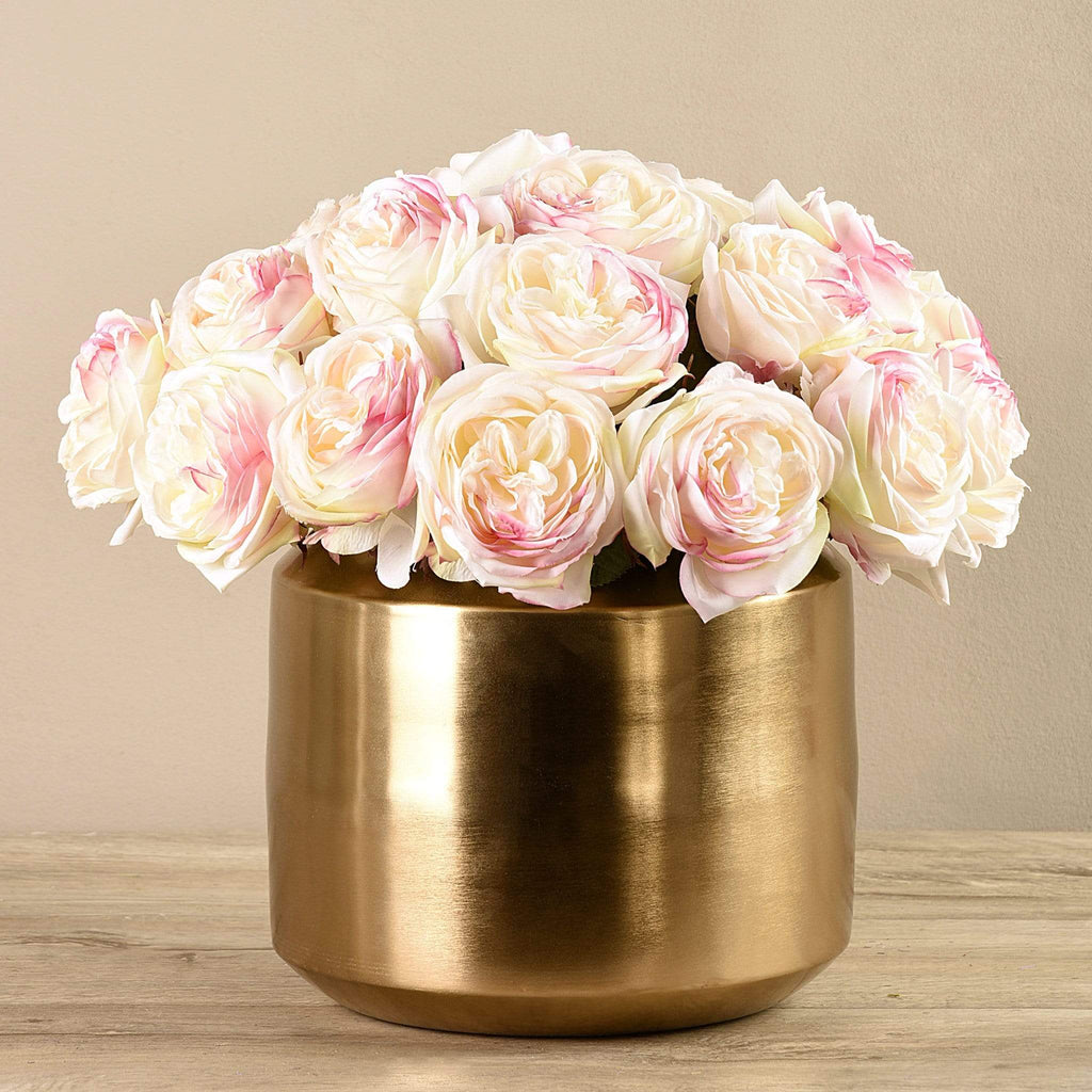 Artificial Rose Arrangement in Gold Vase - Bloomr