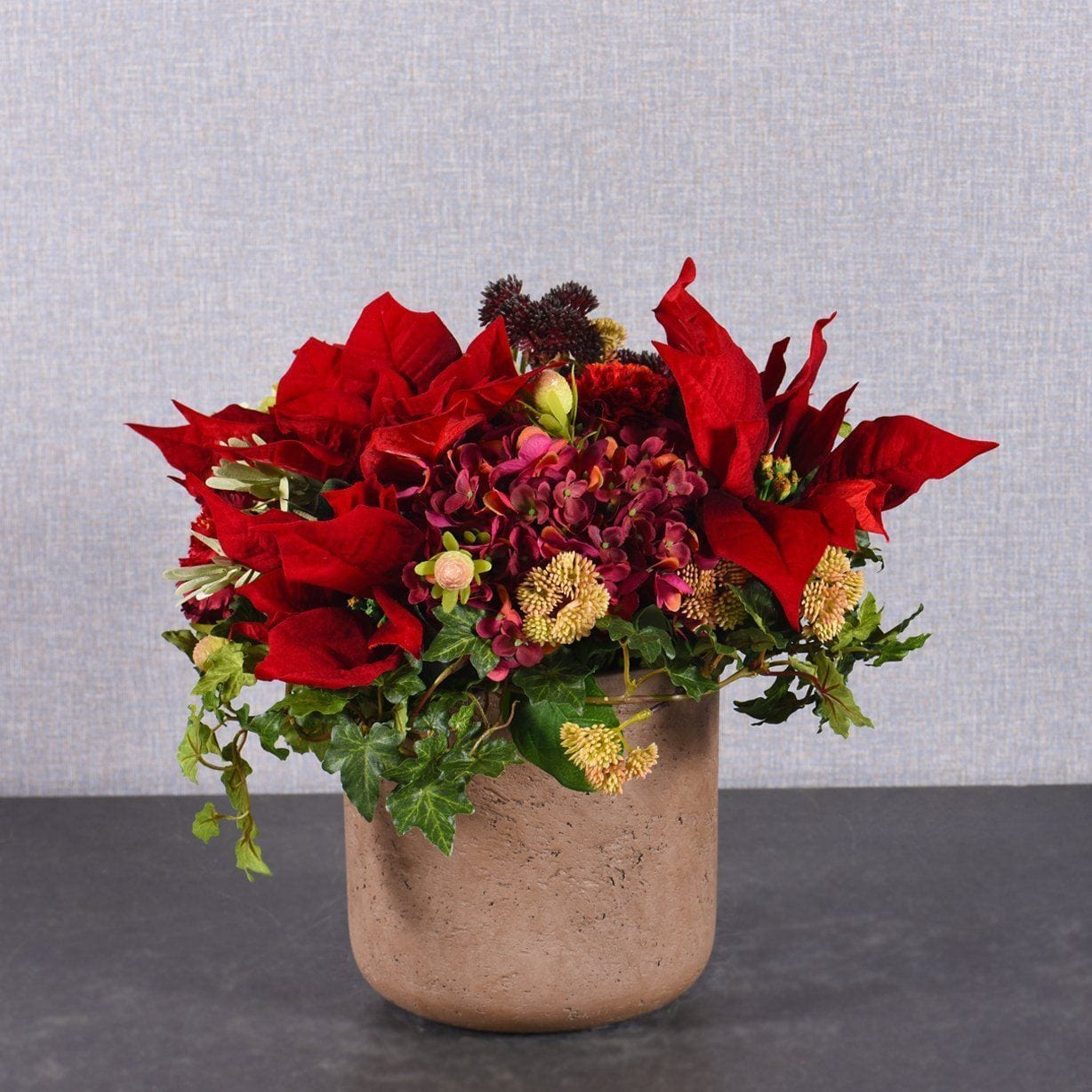 Artificial Christmas Flowers.Red Christmas Bouquet