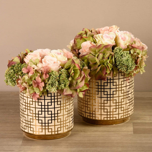 Rose, Hydrangea & Sedum Arrangement Bloomr Artificial Flowers & Artificial Trees