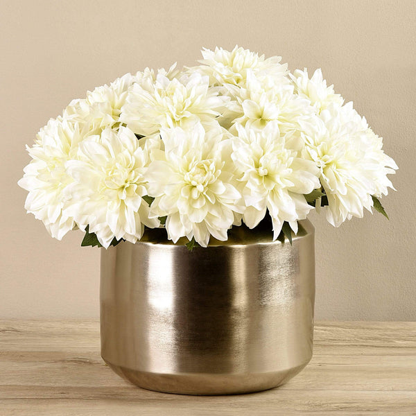 Artificial Dahlia in Silver Vase Bloomr Artificial Flowers & Artificial Trees