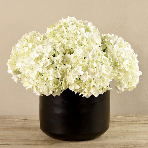 Artificial Hydrangea in Black Vase - Bloomr