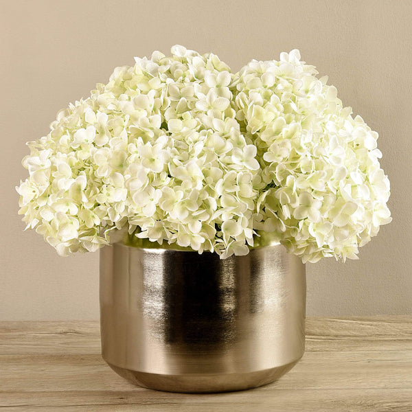 Artificial Hydrangea in Silver Vase Bloomr Artificial Flowers & Artificial Trees