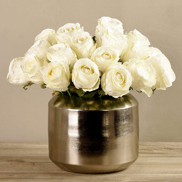 Artificial Rose Arrangement in Silver Vase Bloomr Artificial Flowers & Artificial Trees