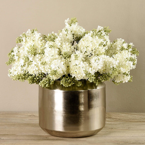 Artificial Hybrid Arrangement in Silver Vase Bloomr Artificial Flowers & Artificial Trees