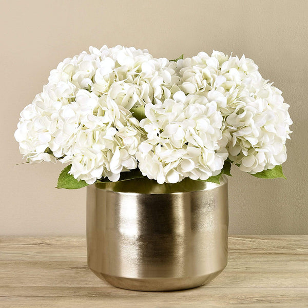 Artificial Hydrangea Arrangement in Silver Vase Bloomr Artificial Flowers & Artificial Trees