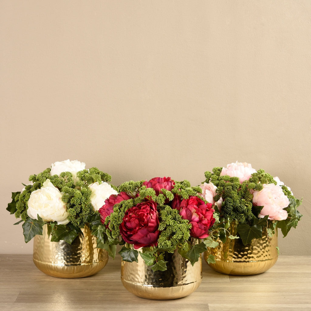 Artificial Peony & Sedum Arrangement - Bloomr