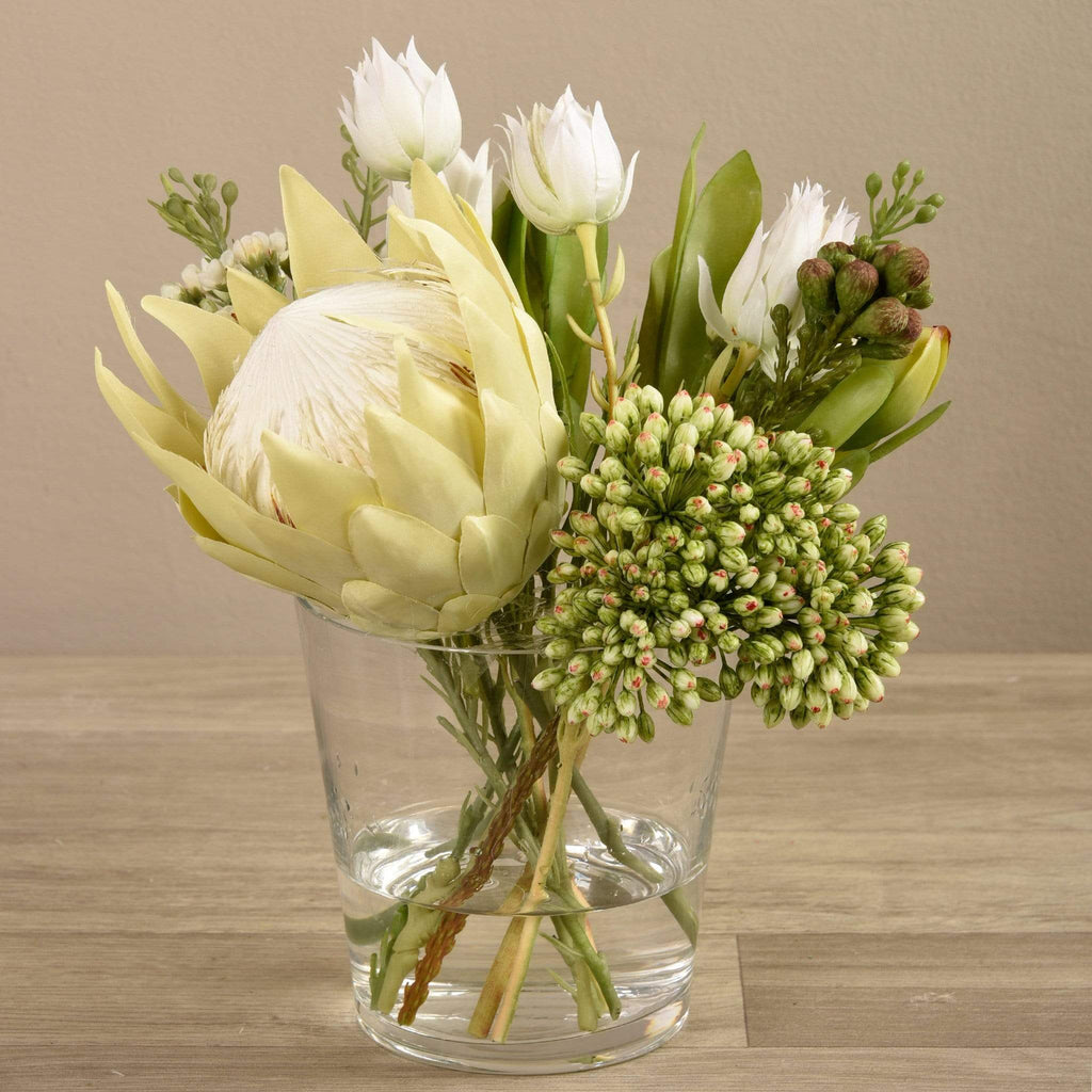 Artificial Protea Arrangement in Glass Vase Bloomr Artificial Flowers & Artificial Trees