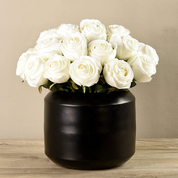 Artificial Rose Arrangement in Black Vase - Bloomr