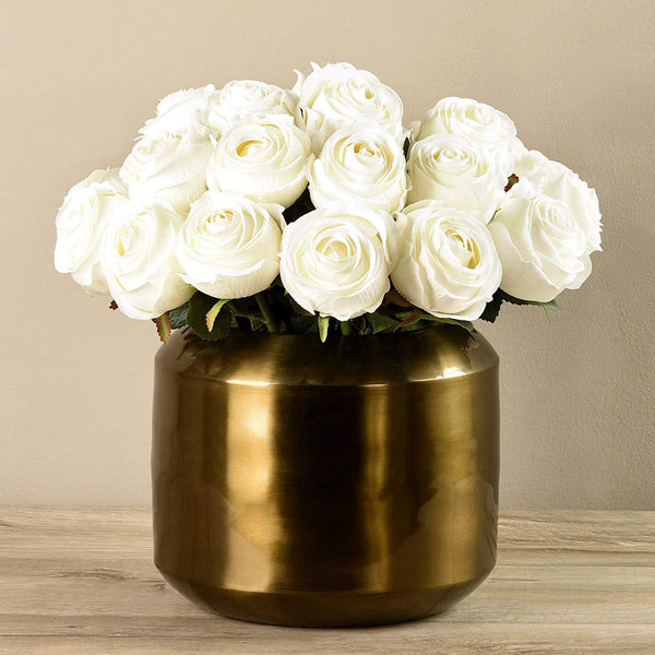 Artificial Rose Arrangement in Copper Vase Bloomr Artificial Flowers & Artificial Trees