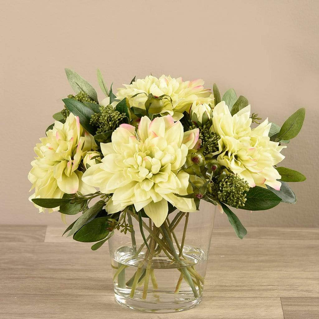 Artificial Dahlia Arrangement in Glass Vase Bloomr Artificial Flowers & Artificial Trees