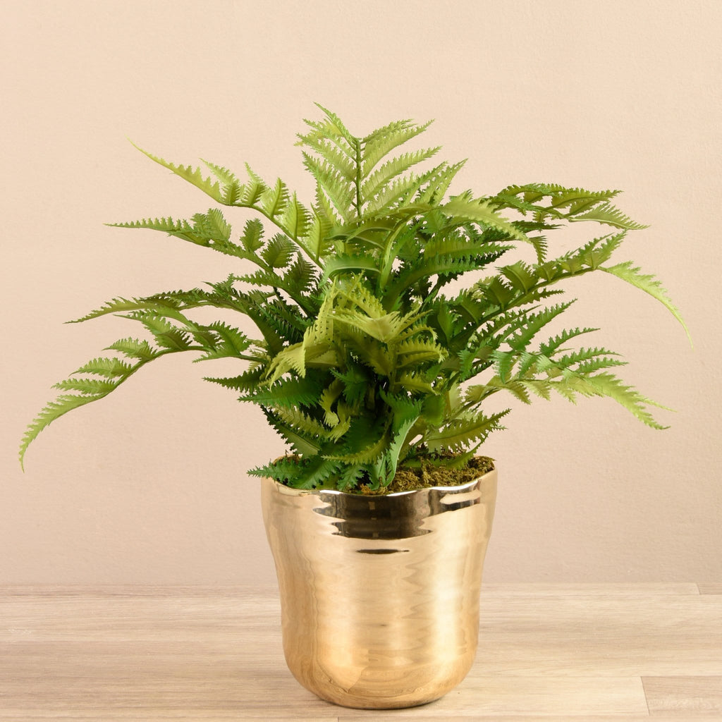 Artificial Fern in Gold Pot Bloomr Artificial Flowers & Artificial Trees