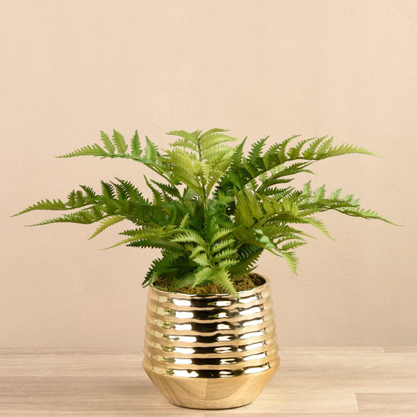Artificial Fern in Textured Gold Pot Bloomr Artificial Flowers & Artificial Trees
