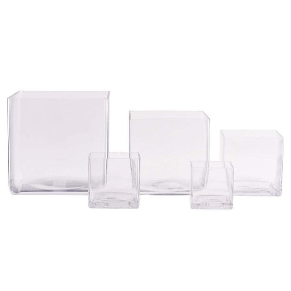 Glass Square Vase Bloomr Home Artificial Flowers and Trees