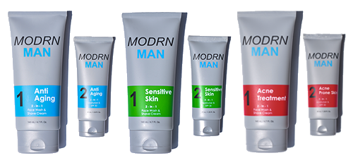 MODRN MAN two-step skincare system all product lines combined