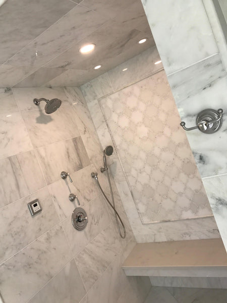hampton carrara marble, val di marble, steam shower