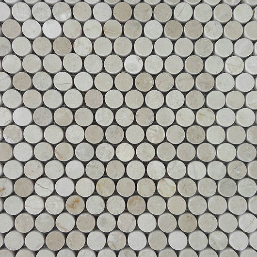 Crema Marfil Penny Round Mosaic Polished Marble Tile - Briddick Tile + Stone