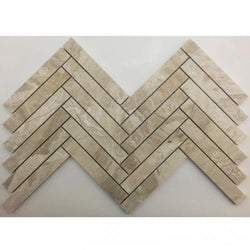 1X6 HERRINGBONE ROYAL QUEEN BEIGE HONED MARBLE TILE - Briddick Tile + Stone