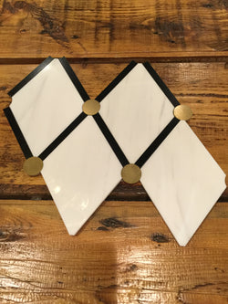 Diamante - Bianco Dolomiti, Nero Marquina and Brass Dot CALL FOR PRICING - Briddick Tile + Stone