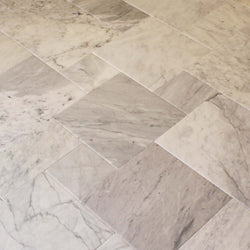 TUMBLED CARRARA FRENCH PATTERN - Satin and rounded edge - Briddick Tile + Stone