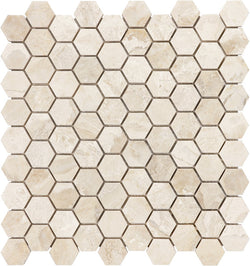 "1 1/4"" HEX ROYAL QUEEN BEIGE POLISHED MARBLE - Briddick Tile + Stone"