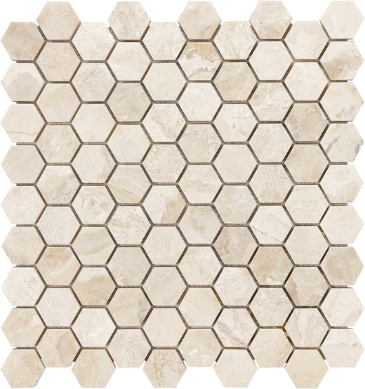 "1 1/4"" HEX ROYAL QUEEN BEIGE MARBLE - Briddick Tile + Stone"