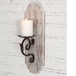 White Wood Pillar Candle Sconce - Briddick Tile + Stone
