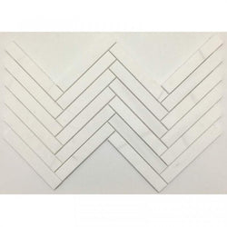 "1""x6"" Honed Herringbone Alpine Marble Collection - Briddick Tile + Stone"