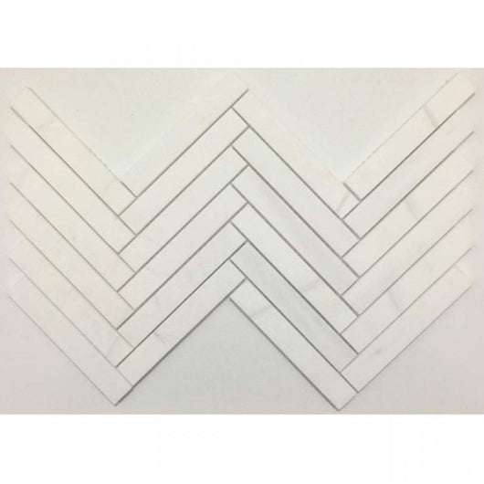 "1""x6"" Honed Herringbone Alpine Marble Collection - Bianco Puro - Briddick Tile + Stone"