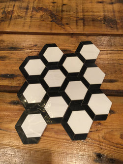 Grassetto Hexagon - Bianco Dolomiti Nero Marquina - CALL FOR PRICING - Briddick Tile + Stone