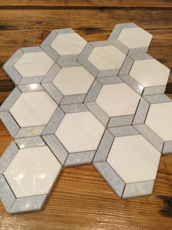 Grassetto Hexagon Bianco Dolomiti Blue Celeste - Briddick Tile + Stone