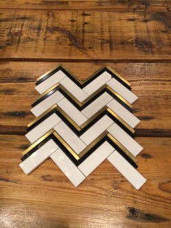 Motivio Herringbone Bianco Dolomiti Nero Marquina and Brass - Briddick Tile + Stone