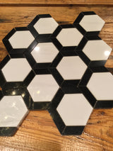 Grassetto Hexagon Bianco Dolomiti Nero Marquina - Briddick Tile + Stone