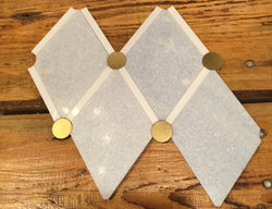 Regio Diamante Blue Celeste, Bianco Dolomiti and Brass Dot - Briddick Tile + Stone