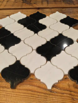 Arabesque Modello - Bianco Dolomiti Nero Marquina - CALL FOR PRICING - Briddick Tile + Stone
