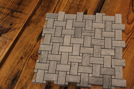 Gris Savoy Honed Limestone Basketweave Mosaic - Briddick Tile + Stone