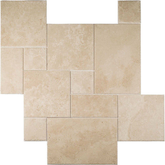 IVORY TRAVERTINE CHISELED FRENCH PATTERN 8*8/8*16/16*16/16*24 - Briddick Tile + Stone