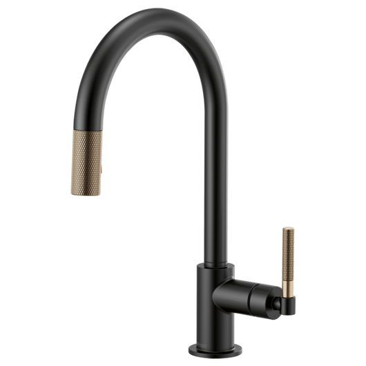 LITZE™ PULL-DOWN FAUCET WITH ARC SPOUT AND KNURLED HANDLE - Briddick Tile + Stone